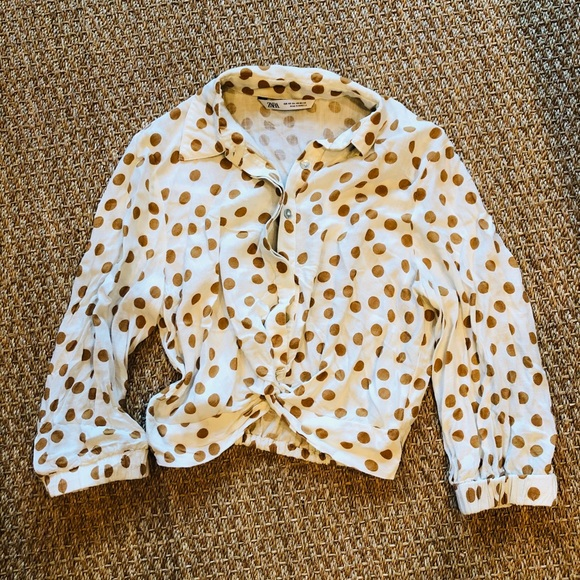 Cream and Brown/Orange Polka Dot Crop Top